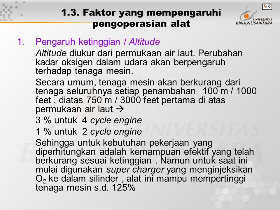 1.3. Faktor yang mempengaruhi pengoperasian alat 1.Pengaruh ketinggian / Altitude Altitude diukur dari permukaan air laut. Perubahan kadar oksigen dal