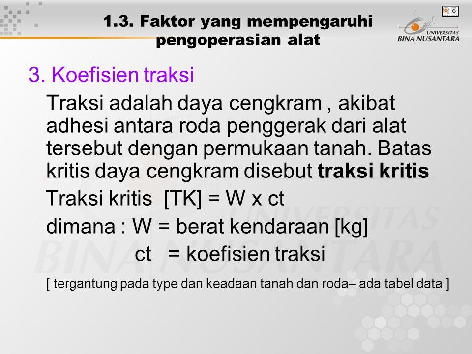 1.3. Faktor yang mempengaruhi pengoperasian alat 3. Koefisien traksi Traksi adalah daya cengkram, akibat adhesi antara roda penggerak dari alat terseb