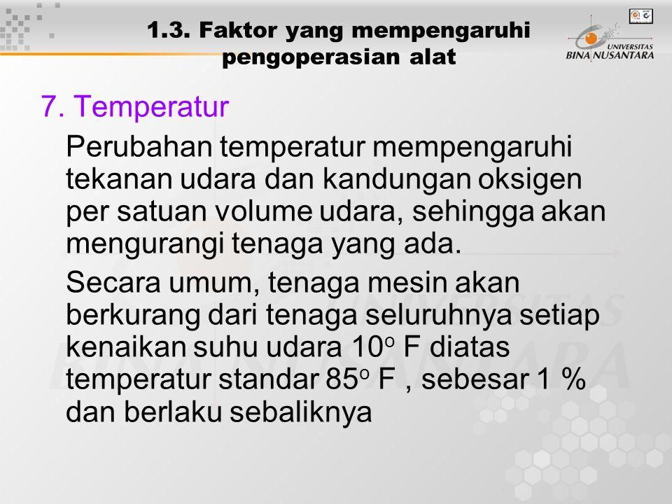 1.3. Faktor yang mempengaruhi pengoperasian alat 7. Temperatur Perubahan temperatur mempengaruhi tekanan udara dan kandungan oksigen per satuan volume