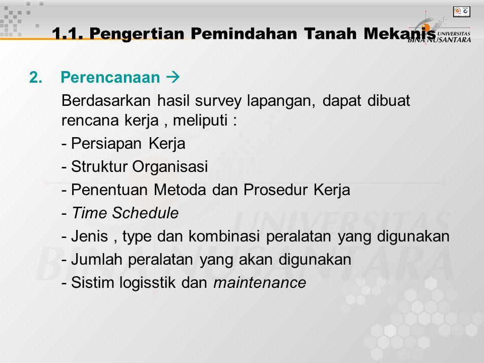 2. Perencanaan  Berdasarkan hasil survey lapangan, dapat dibuat rencana kerja, meliputi : - Persiapan Kerja - Struktur Organisasi - Penentuan Metoda