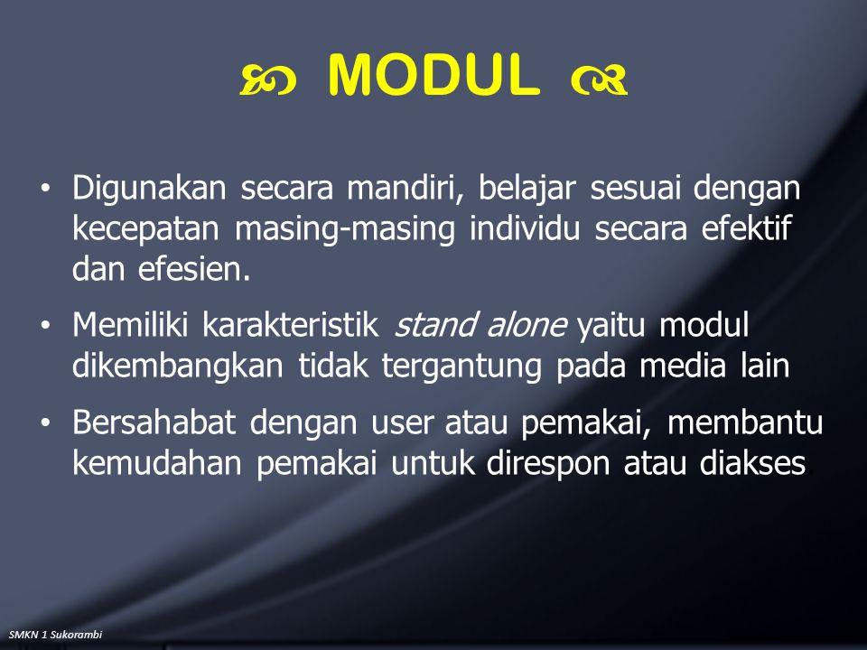 SMKN 1 Sukorambi Digunakan secara mandiri, belajar sesuai dengan kecepatan masing-masing individu secara efektif dan efesien. Memiliki karakteristik s