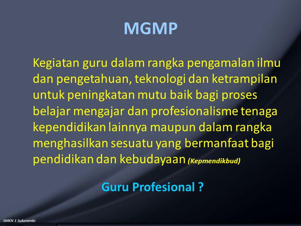 SMKN 1 Sukorambi MGMP Kegiatan guru dalam rangka pengamalan ilmu dan pengetahuan, teknologi dan ketrampilan untuk peningkatan mutu baik bagi proses be