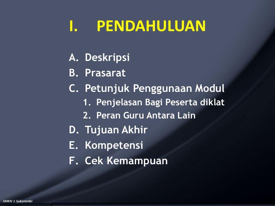SMKN 1 Sukorambi I.PENDAHULUAN A.Deskripsi B.Prasarat C.Petunjuk Penggunaan Modul 1.Penjelasan Bagi Peserta diklat 2.Peran Guru Antara Lain D.Tujuan A