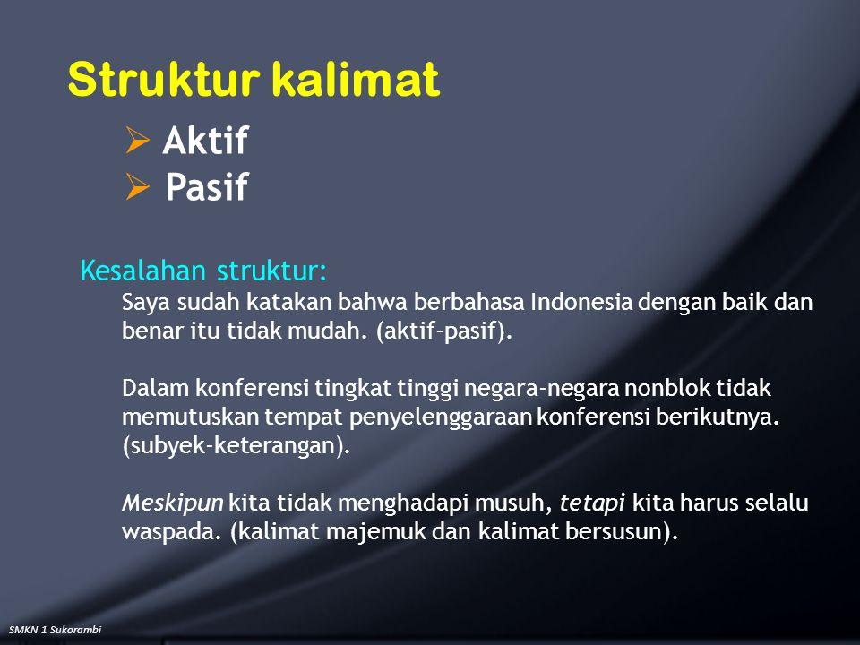 SMKN 1 Sukorambi Kesalahan struktur: Saya sudah katakan bahwa berbahasa Indonesia dengan baik dan benar itu tidak mudah. (aktif-pasif). Dalam konferen
