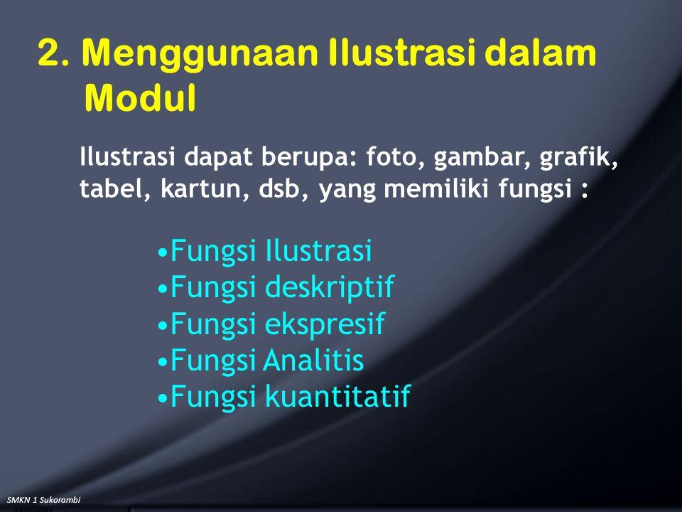 SMKN 1 Sukorambi Fungsi Ilustrasi Fungsi deskriptif Fungsi ekspresif Fungsi Analitis Fungsi kuantitatif 2. Menggunaan Ilustrasi dalam Modul Ilustrasi