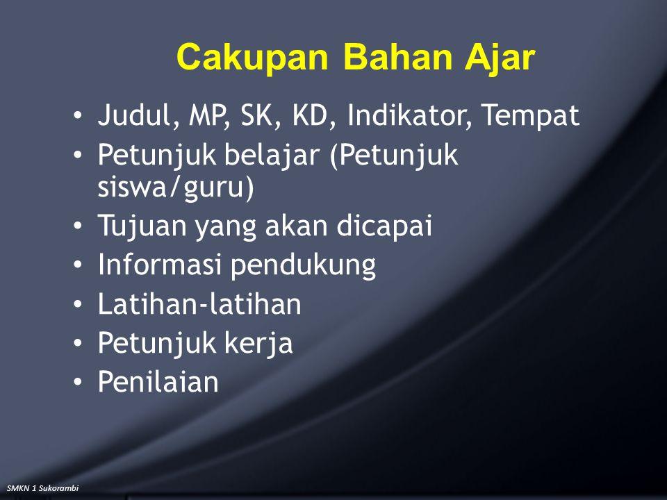 SMKN 1 Sukorambi Cakupan Bahan Ajar Judul, MP, SK, KD, Indikator, Tempat Petunjuk belajar (Petunjuk siswa/guru) Tujuan yang akan dicapai Informasi pen
