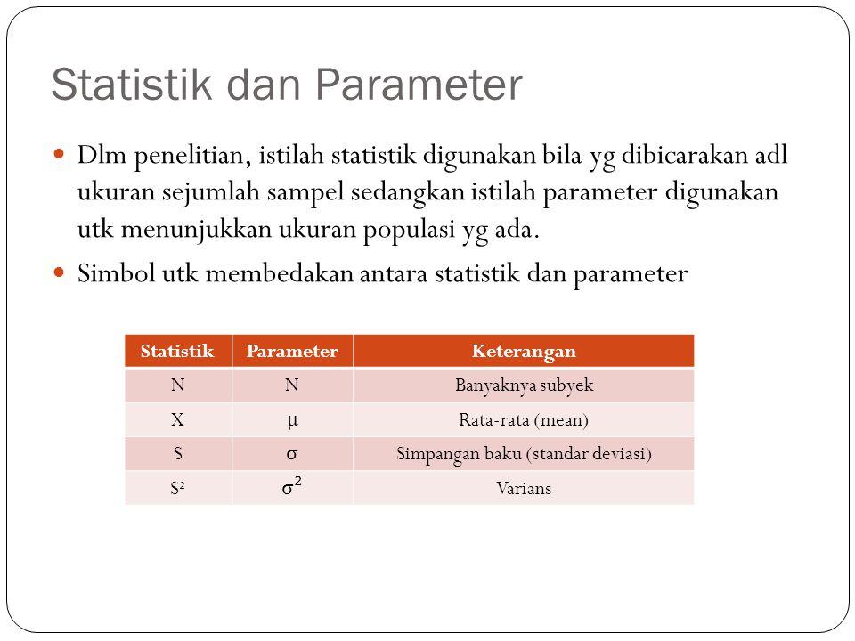 Statistik dan Parameter Dlm penelitian, istilah statistik digunakan bila yg dibicarakan adl ukuran sejumlah sampel sedangkan istilah parameter digunakan utk menunjukkan ukuran populasi yg ada.
