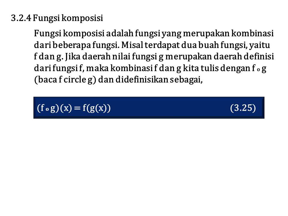 (f o g)(x) = f(g(x)) (3.25) 3.2.4 Fungsi komposisi Fungsi komposisi adalah fungsi yang merupakan kombinasi dari beberapa fungsi. Misal terdapat dua bu