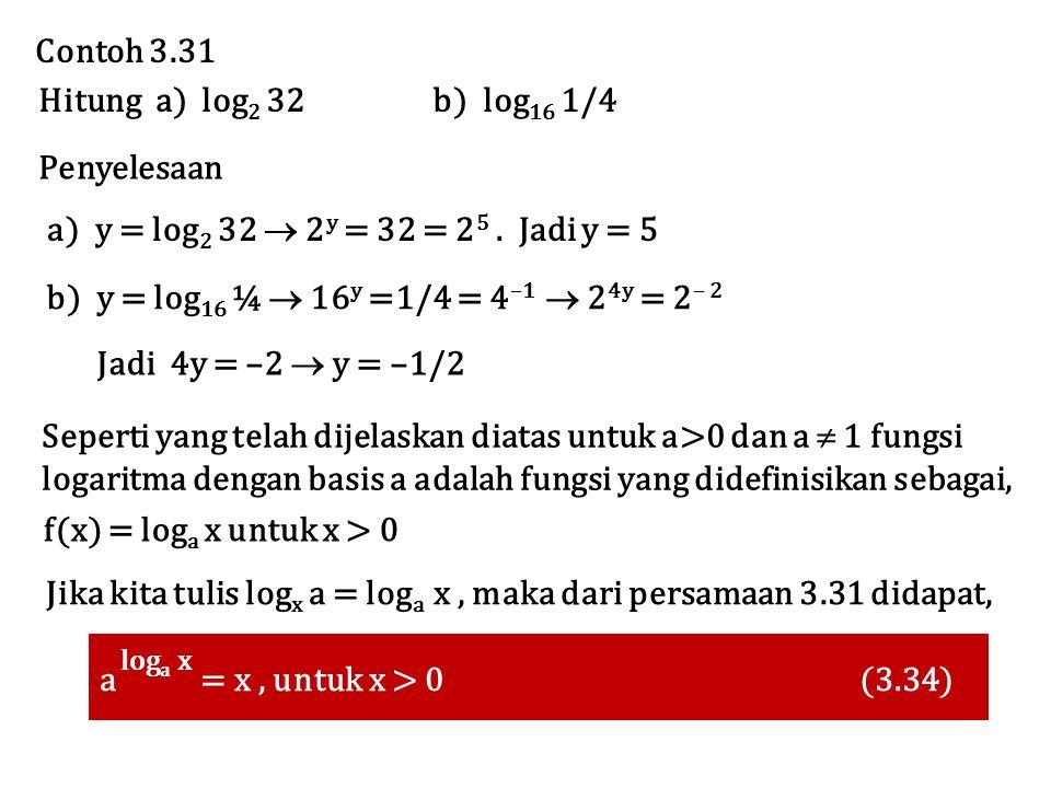 Contoh 3.31 Penyelesaan Hitung a) log 2 32 b) log 16 1/4 a) y = log 2 32  2 y = 32 = 2 5. Jadi y = 5 b) y = log 16 ¼  16 y =1/4 = 4 –1  2 4y = 2 –