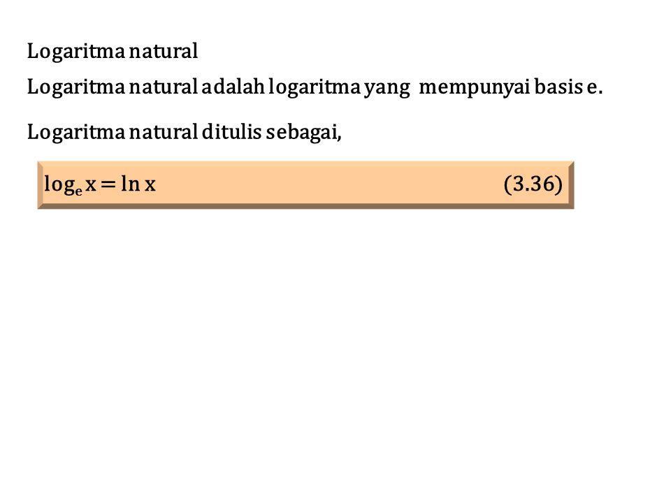 Logaritma natural Logaritma natural adalah logaritma yang mempunyai basis e. Logaritma natural ditulis sebagai, log e x = ln x (3.36)