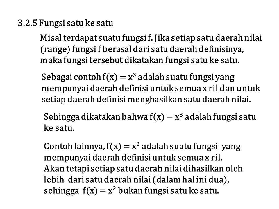 3.2.5 Fungsi satu ke satu Misal terdapat suatu fungsi f. Jika setiap satu daerah nilai (range) fungsi f berasal dari satu daerah definisinya, maka fun