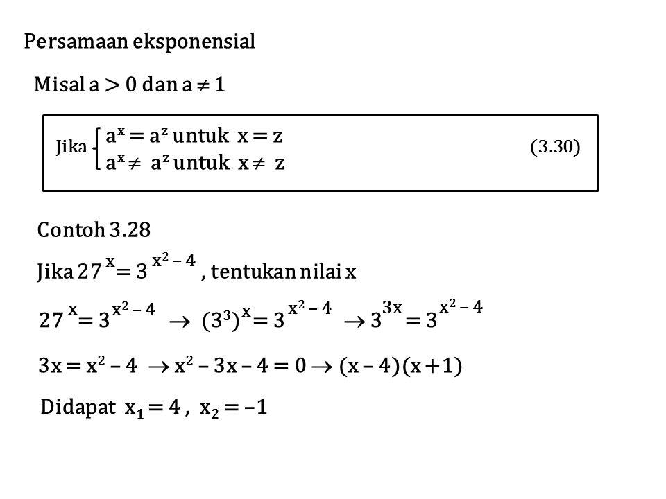 Persamaan eksponensial Misal a > 0 dan a  1 Jika (3.30) a x = a z untuk x = z a x  a z untuk x  z Contoh 3.28 Jika 27 = 3, tentukan nilai x x x 2 –