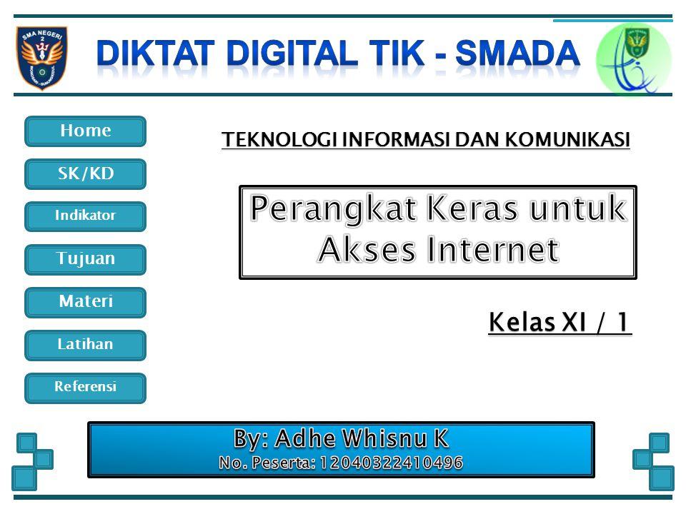 Home Indikator SK/KD Tujuan Materi Latihan Referensi Standar Kompetensi Menggunakan Internet untuk keperluan informasi dan komunikasi Kompetensi Dasar Menjelaskan berbagai perangkat keras dan fungsinya untuk keperluan akses internet