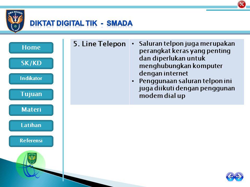 Home Indikator SK/KD Tujuan Materi Latihan Referensi 5. Line Telepon Saluran telpon juga merupakan perangkat keras yang penting dan diperlukan untuk m