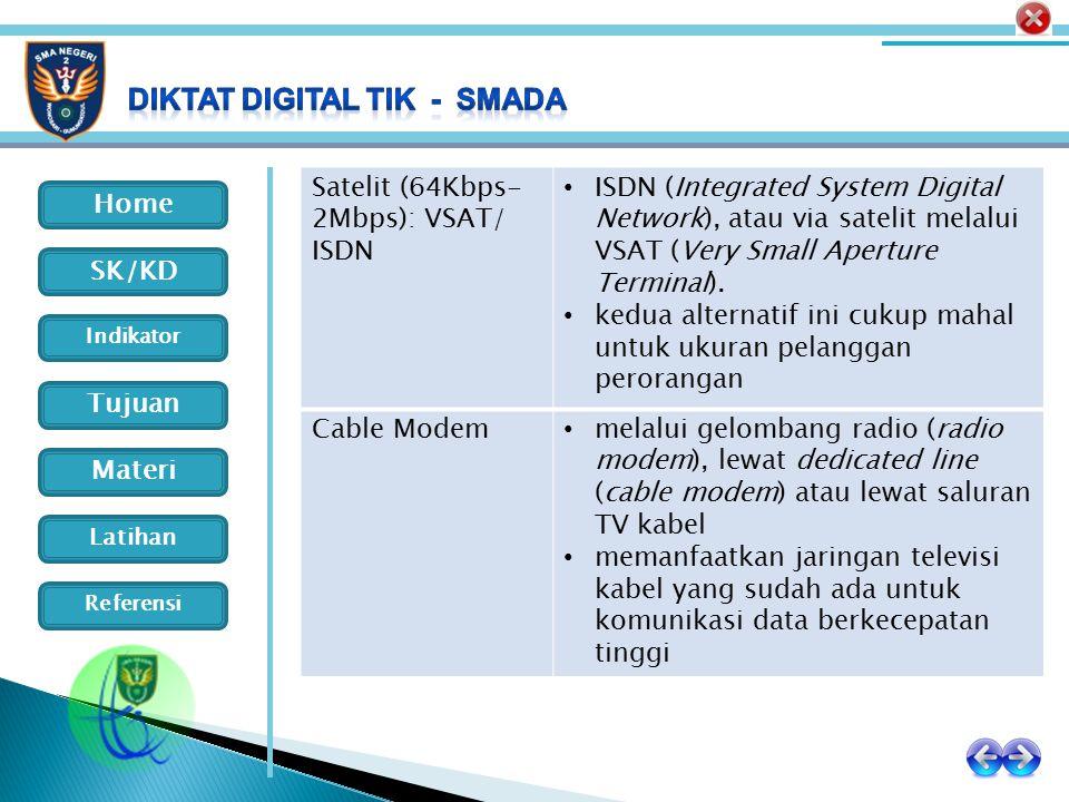 Home Indikator SK/KD Tujuan Materi Latihan Referensi Satelit (64Kbps- 2Mbps): VSAT/ ISDN ISDN (Integrated System Digital Network), atau via satelit me