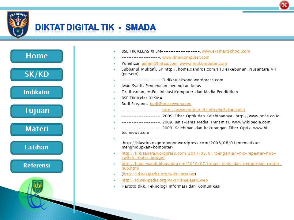Home Indikator SK/KD Tujuan Materi Latihan Referensi  BSE TIK KELAS XI SM----------------. www.e-smartschool.comwww.e-smartschool.com  -------------