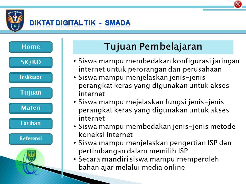 Home Indikator SK/KD Tujuan Materi Latihan Referensi Pengertian ISP Dari Wikipedia bahasa Indonesia: ensiklopedia bebas: Penyedia jasa Internet (disingkat PJI) (bahasa Inggris: Internet service provider disingkat ISP) adalah perusahaan atau badan yang menyediakan jasa sambungan Internet dan jasa lainnya yang berhubungan dengan Internetbahasa InggrisInternet