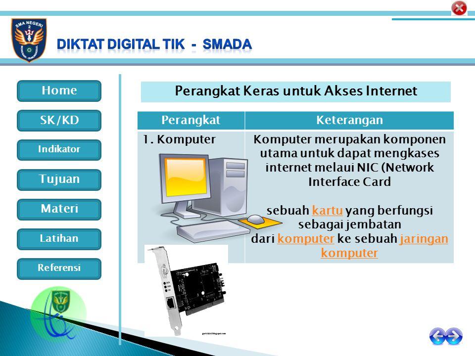 Home Indikator SK/KD Tujuan Materi Latihan Referensi PerangkatKeterangan 1. KomputerKomputer merupakan komponen utama untuk dapat mengkases internet m