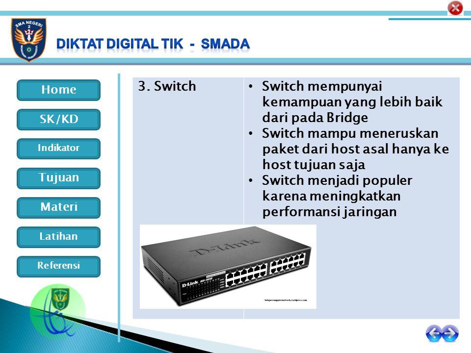 Home Indikator SK/KD Tujuan Materi Latihan Referensi 3. Switch Switch mempunyai kemampuan yang lebih baik dari pada Bridge Switch mampu meneruskan pak
