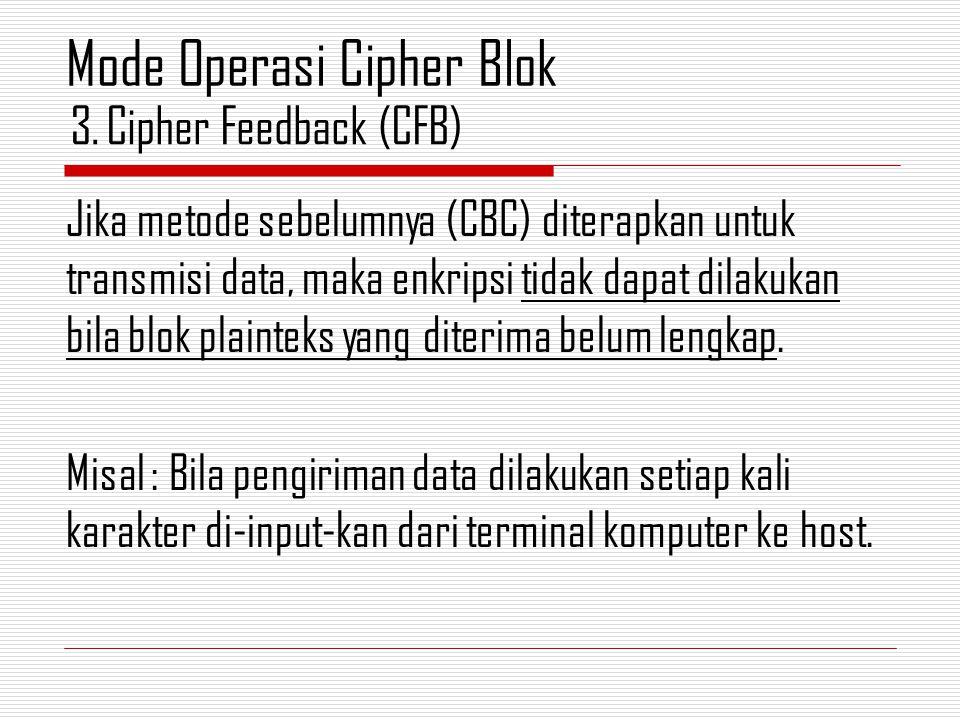 Jika metode sebelumnya (CBC) diterapkan untuk transmisi data, maka enkripsi tidak dapat dilakukan bila blok plainteks yang diterima belum lengkap. Mis