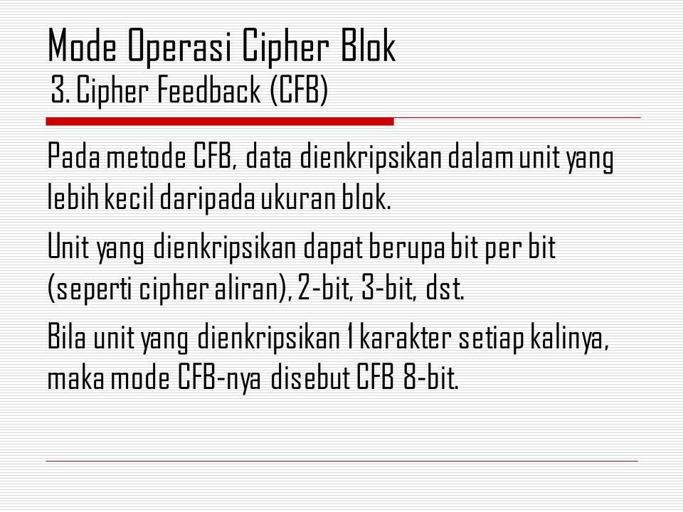 Pada metode CFB, data dienkripsikan dalam unit yang lebih kecil daripada ukuran blok. Unit yang dienkripsikan dapat berupa bit per bit (seperti cipher
