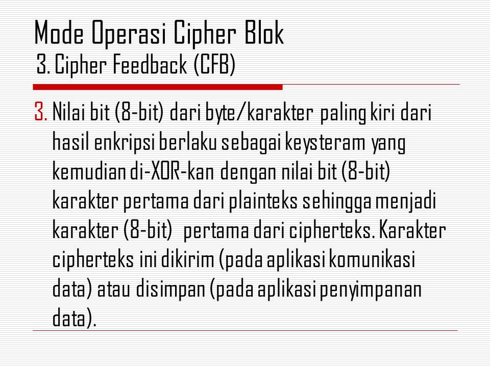 3.Nilai bit (8-bit) dari byte/karakter paling kiri dari hasil enkripsi berlaku sebagai keysteram yang kemudian di-XOR-kan dengan nilai bit (8-bit) kar