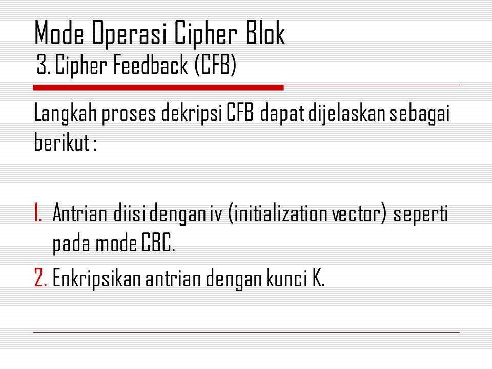 Langkah proses dekripsi CFB dapat dijelaskan sebagai berikut : 1.Antrian diisi dengan iv (initialization vector) seperti pada mode CBC. 2.Enkripsikan