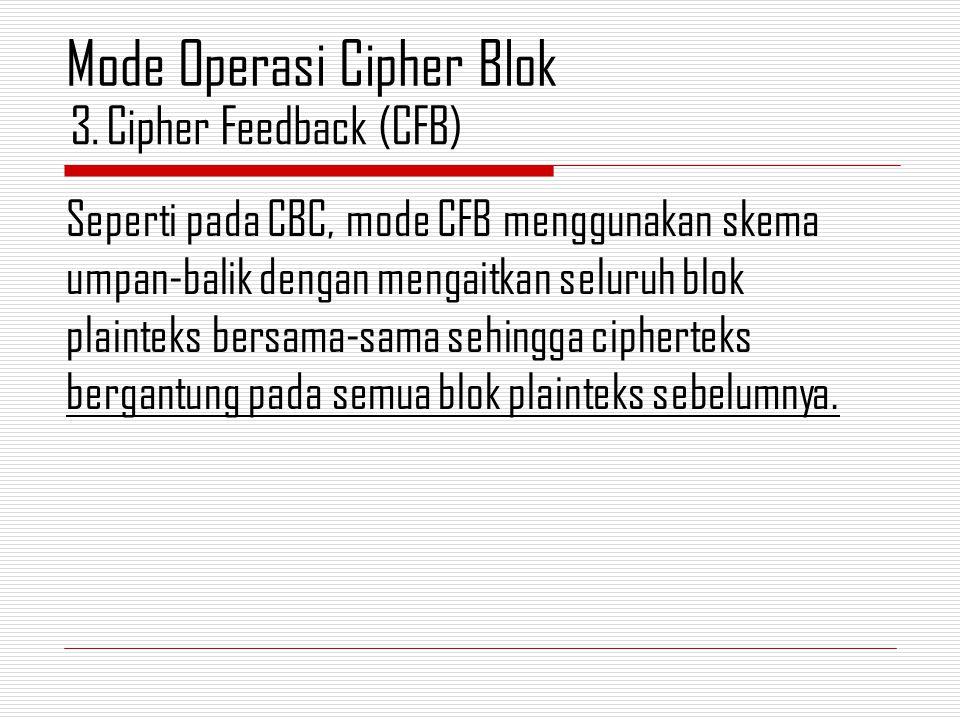 Seperti pada CBC, mode CFB menggunakan skema umpan-balik dengan mengaitkan seluruh blok plainteks bersama-sama sehingga cipherteks bergantung pada sem