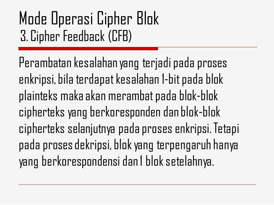 Perambatan kesalahan yang terjadi pada proses enkripsi, bila terdapat kesalahan 1-bit pada blok plainteks maka akan merambat pada blok-blok cipherteks