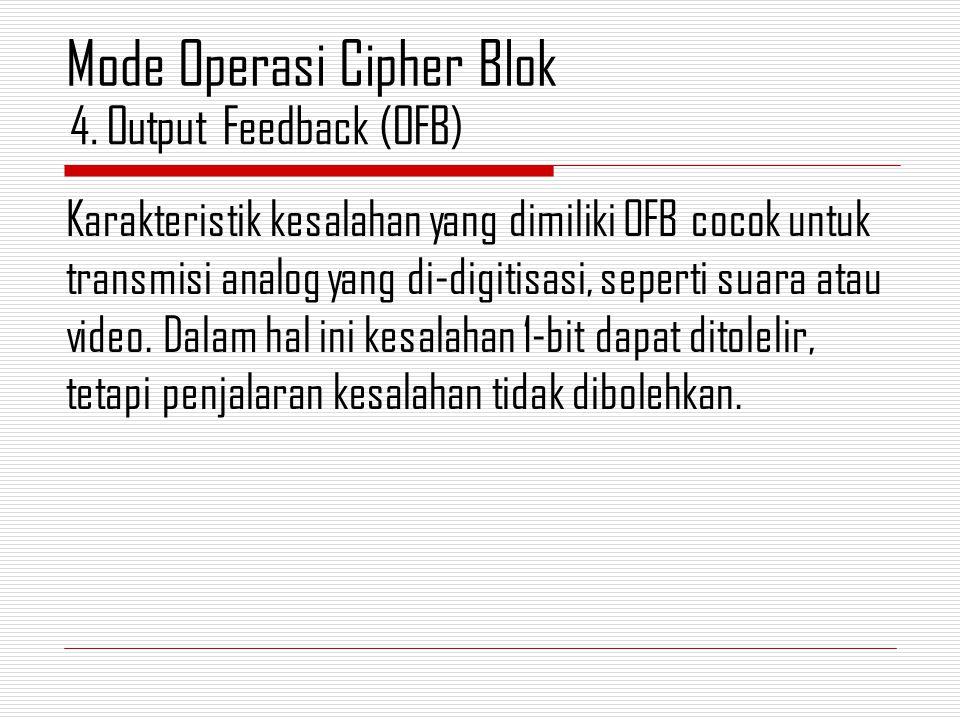 Karakteristik kesalahan yang dimiliki OFB cocok untuk transmisi analog yang di-digitisasi, seperti suara atau video. Dalam hal ini kesalahan 1-bit dap