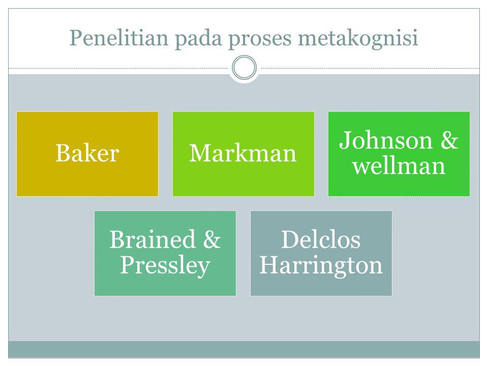Penelitian pada proses metakognisi BakerMarkman Johnson & wellman Brained & Pressley Delclos Harrington