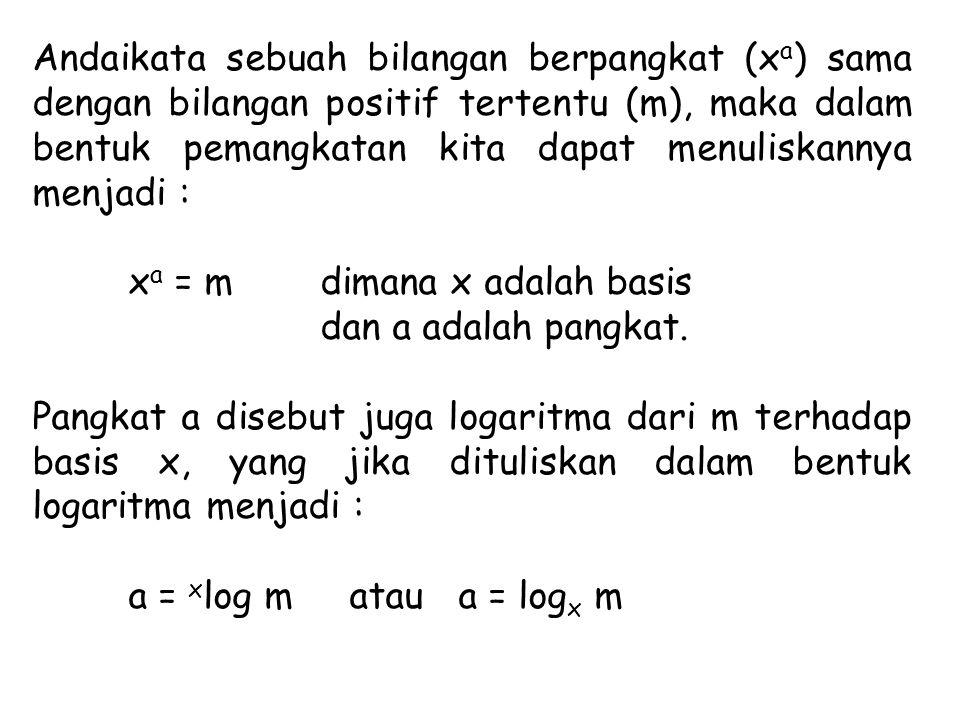 Andaikata sebuah bilangan berpangkat (x a ) sama dengan bilangan positif tertentu (m), maka dalam bentuk pemangkatan kita dapat menuliskannya menjadi