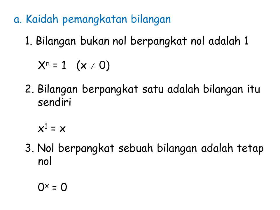 a. Kaidah pemangkatan bilangan 1. Bilangan bukan nol berpangkat nol adalah 1 X n = 1 (x  0) 2. Bilangan berpangkat satu adalah bilangan itu sendiri x