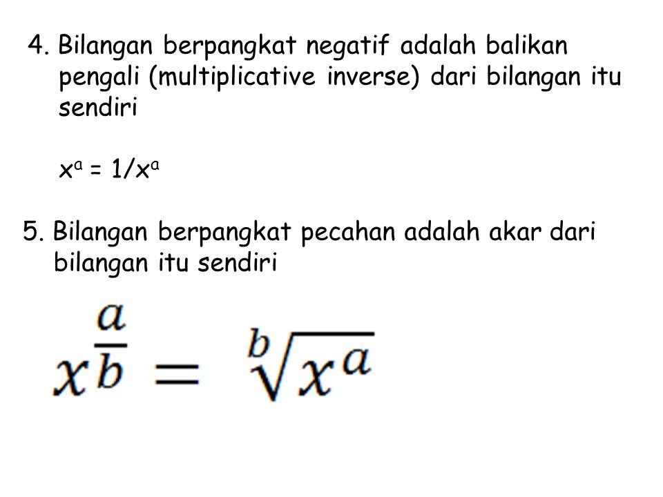 4. Bilangan berpangkat negatif adalah balikan pengali (multiplicative inverse) dari bilangan itu sendiri x a = 1/x a 5. Bilangan berpangkat pecahan ad