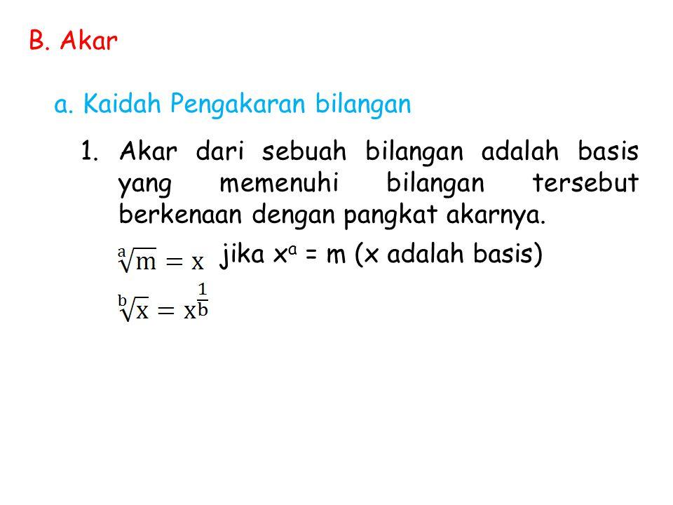 B. Akar a. Kaidah Pengakaran bilangan 1.Akar dari sebuah bilangan adalah basis yang memenuhi bilangan tersebut berkenaan dengan pangkat akarnya. jika