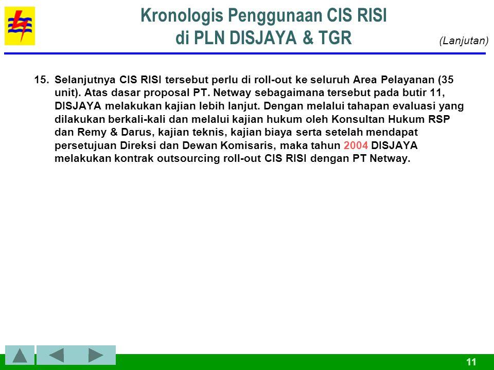 11 15.Selanjutnya CIS RISI tersebut perlu di roll-out ke seluruh Area Pelayanan (35 unit).