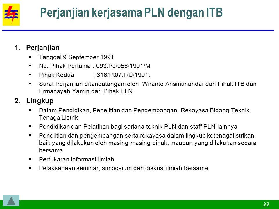 22 Perjanjian kerjasama PLN dengan ITB 1.Perjanjian  Tanggal 9 September 1991  No.