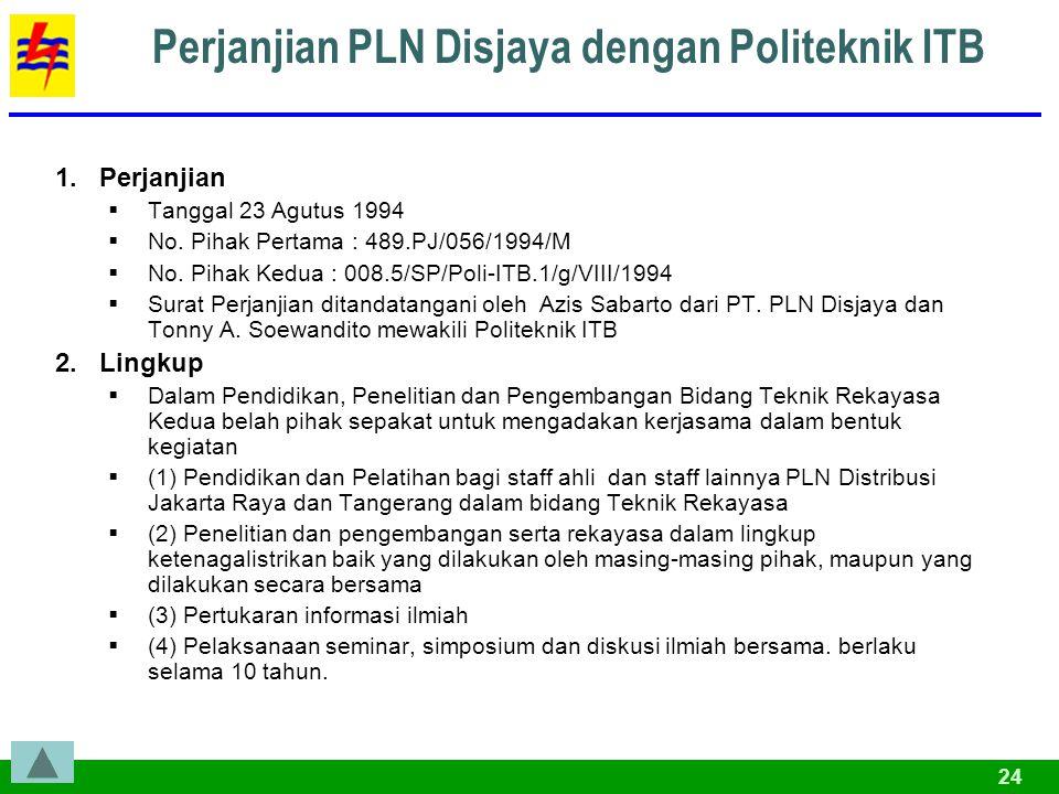 24 Perjanjian PLN Disjaya dengan Politeknik ITB 1.Perjanjian  Tanggal 23 Agutus 1994  No.