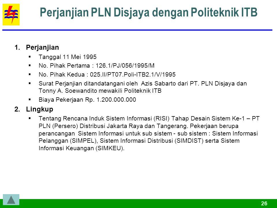 26 Perjanjian PLN Disjaya dengan Politeknik ITB 1.Perjanjian  Tanggal 11 Mei 1995  No.