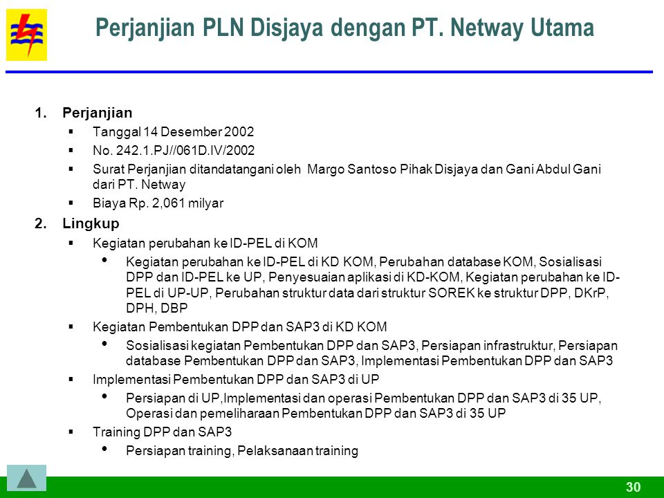 30 Perjanjian PLN Disjaya dengan PT.Netway Utama 1.Perjanjian  Tanggal 14 Desember 2002  No.