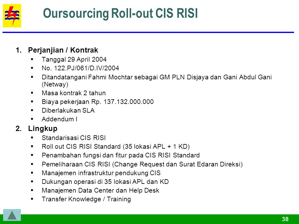 38 Oursourcing Roll-out CIS RISI 1.Perjanjian / Kontrak  Tanggal 29 April 2004  No. 122.PJ/061/D.IV/2004  Ditandatangani Fahmi Mochtar sebagai GM P