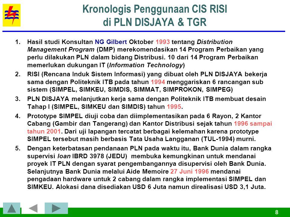 8 Kronologis Penggunaan CIS RISI di PLN DISJAYA & TGR 1.Hasil studi Konsultan NG Gilbert Oktober 1993 tentang Distribution Management Program (DMP) merekomendasikan 14 Program Perbaikan yang perlu dilakukan PLN dalam bidang Distribusi.