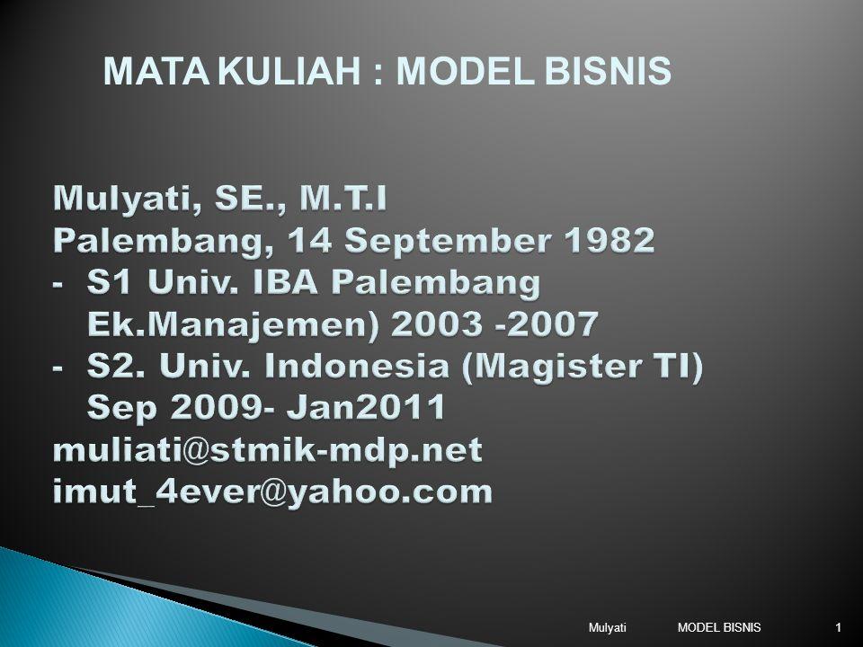 MODEL BISNISMulyati1 MATA KULIAH : MODEL BISNIS