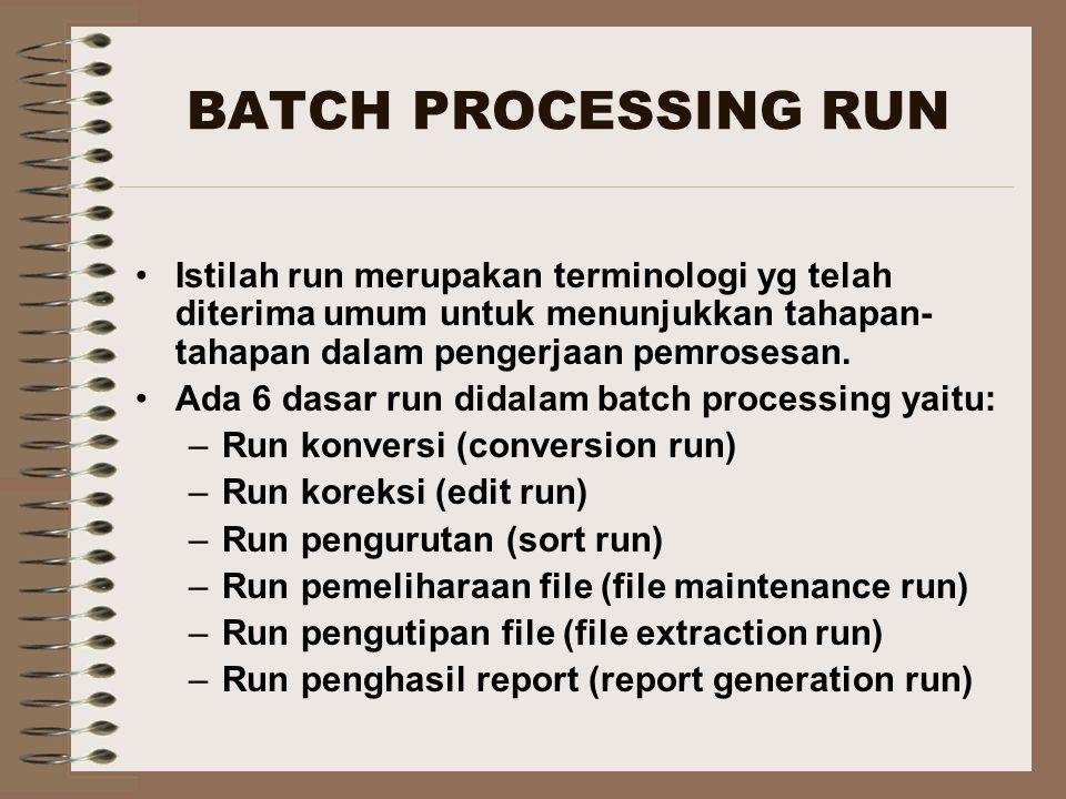 BATCH PROCESSING RUN Istilah run merupakan terminologi yg telah diterima umum untuk menunjukkan tahapan- tahapan dalam pengerjaan pemrosesan. Ada 6 da