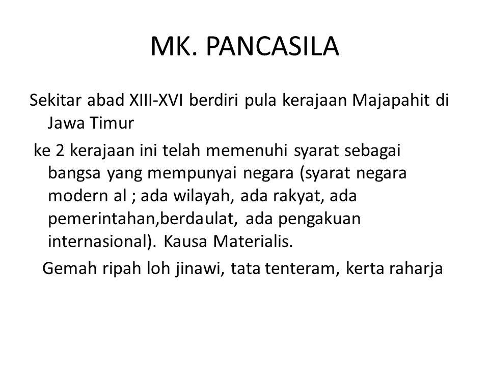 MK. PANCASILA Sekitar abad XIII-XVI berdiri pula kerajaan Majapahit di Jawa Timur ke 2 kerajaan ini telah memenuhi syarat sebagai bangsa yang mempunya