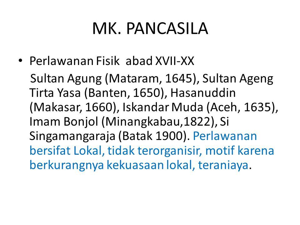MK. PANCASILA Perlawanan Fisik abad XVII-XX Sultan Agung (Mataram, 1645), Sultan Ageng Tirta Yasa (Banten, 1650), Hasanuddin (Makasar, 1660), Iskandar