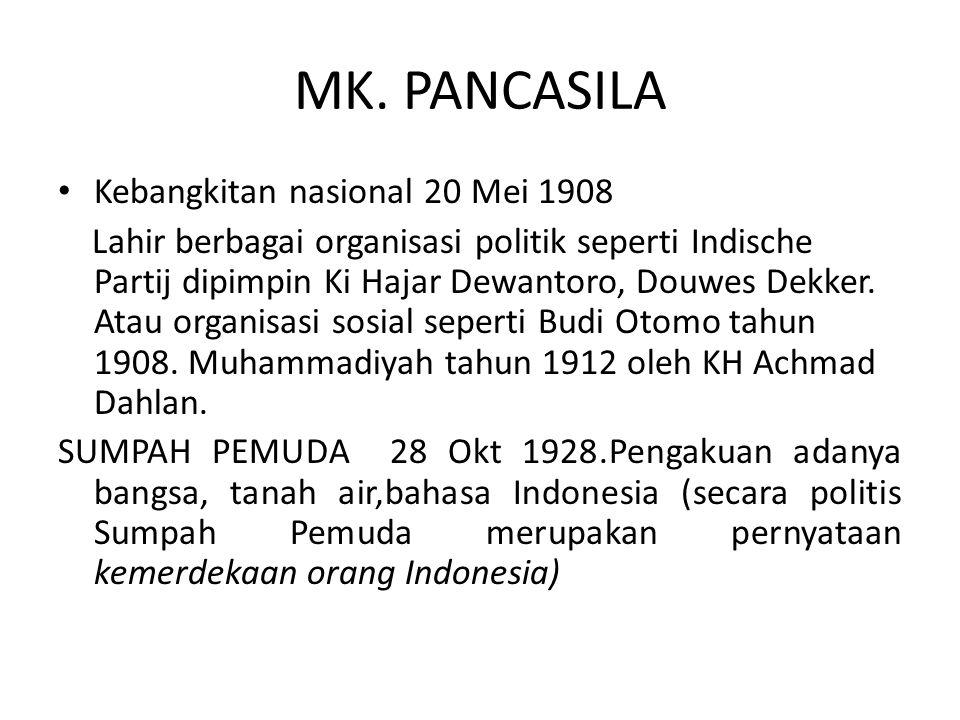 MK. PANCASILA Kebangkitan nasional 20 Mei 1908 Lahir berbagai organisasi politik seperti Indische Partij dipimpin Ki Hajar Dewantoro, Douwes Dekker. A