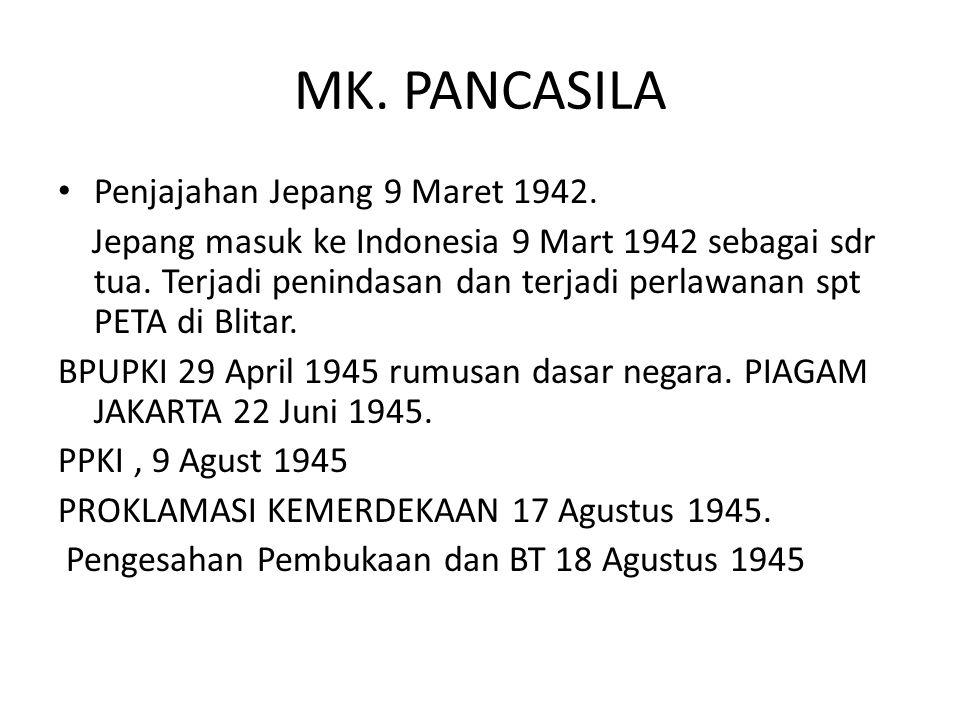 MK. PANCASILA Penjajahan Jepang 9 Maret 1942. Jepang masuk ke Indonesia 9 Mart 1942 sebagai sdr tua. Terjadi penindasan dan terjadi perlawanan spt PET