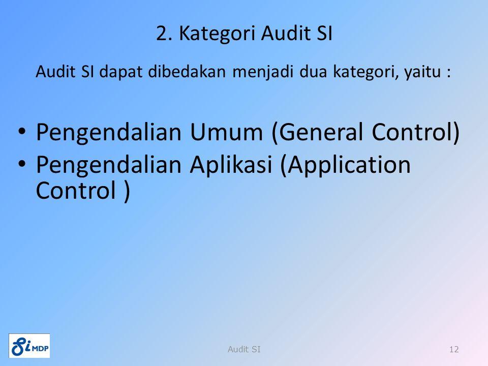 2. Kategori Audit SI Audit SI dapat dibedakan menjadi dua kategori, yaitu : Pengendalian Umum (General Control) Pengendalian Aplikasi (Application Con