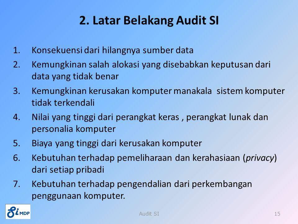 2. Latar Belakang Audit SI 1.Konsekuensi dari hilangnya sumber data 2.Kemungkinan salah alokasi yang disebabkan keputusan dari data yang tidak benar 3